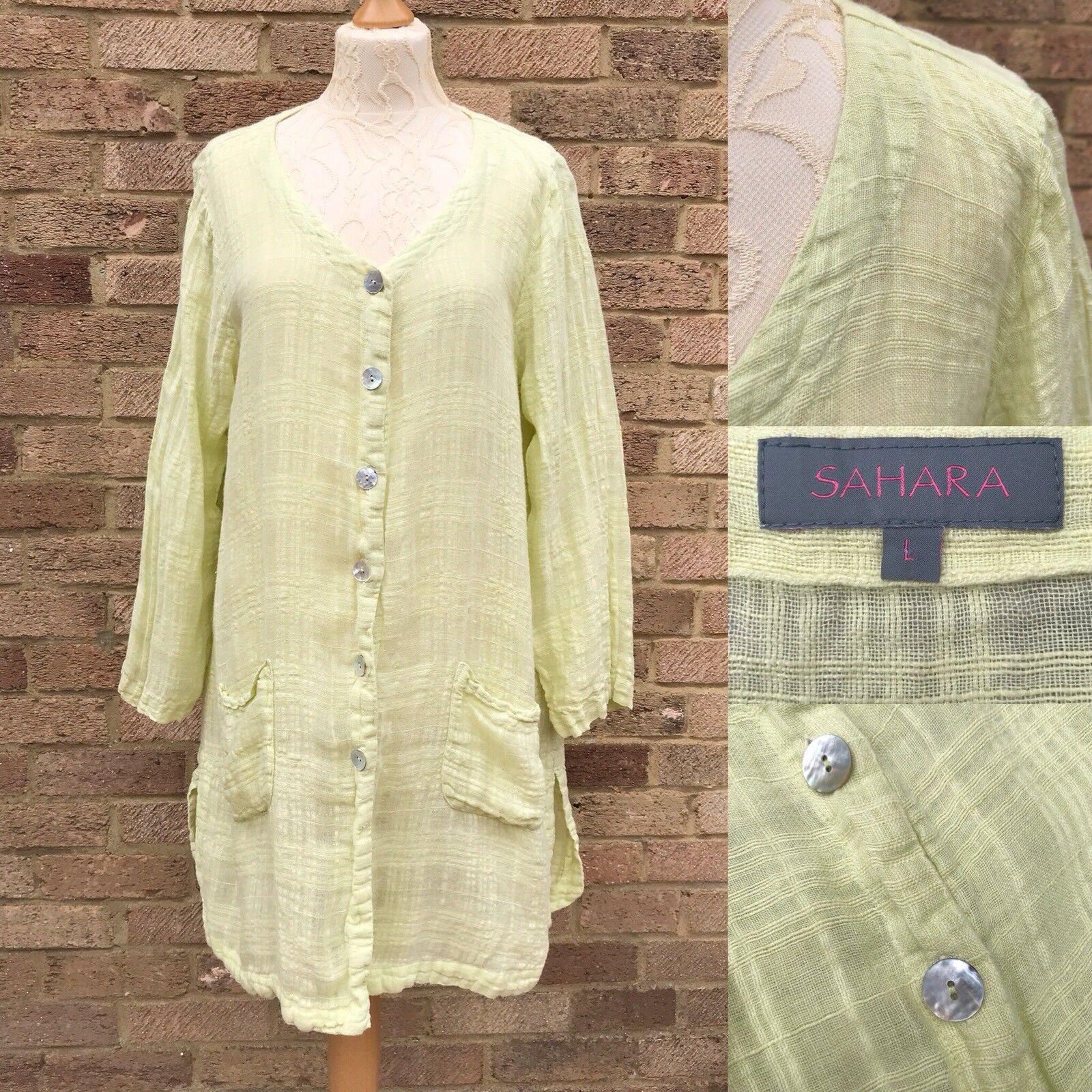 Sahara Kaftan Shirt Jacket Größe L Sorbet Gelb Tunic Linen Lagenlook Folk