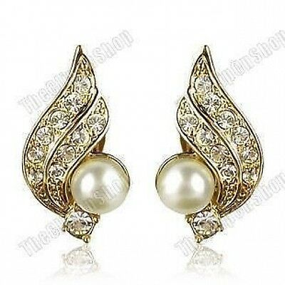 CLIP ON vintage PEARL&CRYSTAL gold DIAMANTE EARRINGS