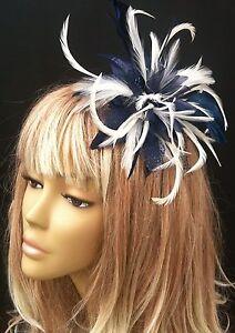Navy Blue/Cream Hair Fascinator Weddings Mother Of The Bride ...
