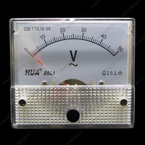 NEW DC 50V Analog Panel Volt Voltage Meter Voltmeter Gauge 85C1 White 0-50V DC