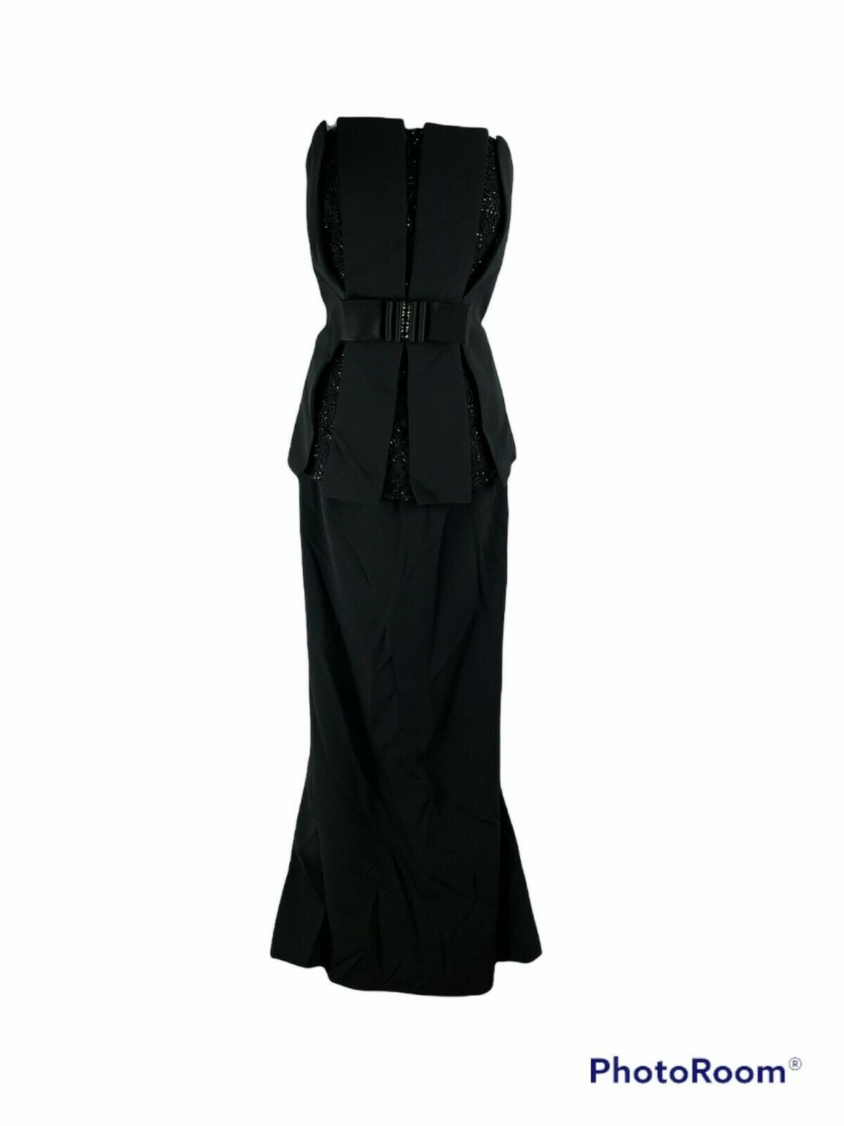NWOT DAYMOR COUTURE strapless black beaded long formal dress size 10