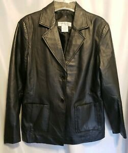 8e0d07727 Details about TOWER HILL COLLECTION Black Leather Jacket Womens size 12  Button front