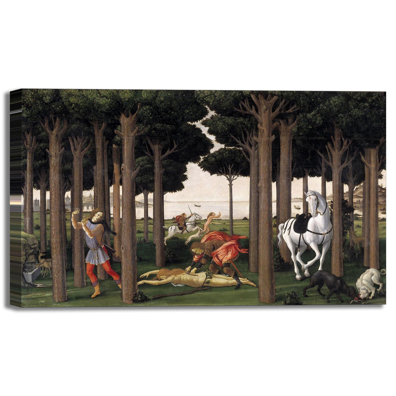 Botticelli Nastagio degli onesti 2 quadro stampa tela dipinto telaio arroto casa
