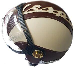 Jet-Helm-Helmet-Capacete-Genehmigt-in-Kunstleder-fuer-Wespe-Weinlese