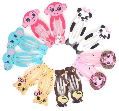 12x Animal Hair Clips Girls Kids sleepies UK Zoo Animals Metal Snap Hair Clips
