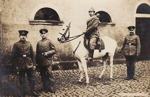 WW1-GERMAN-RIDER-ARMY-PIKELHAUBE-CAVALRY-HORSE-WAR-ANTIQUE-RPPC-PHOTO-POSTCARD