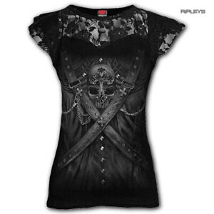 Spiral-Ladies-Black-Gothic-Vampire-STRAPPED-Steampunk-Top-Lace-All-Sizes
