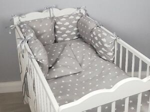 CASES pink stars grey duvet cover 8 pc cot //cot bed bedding sets PILLOW BUMPER