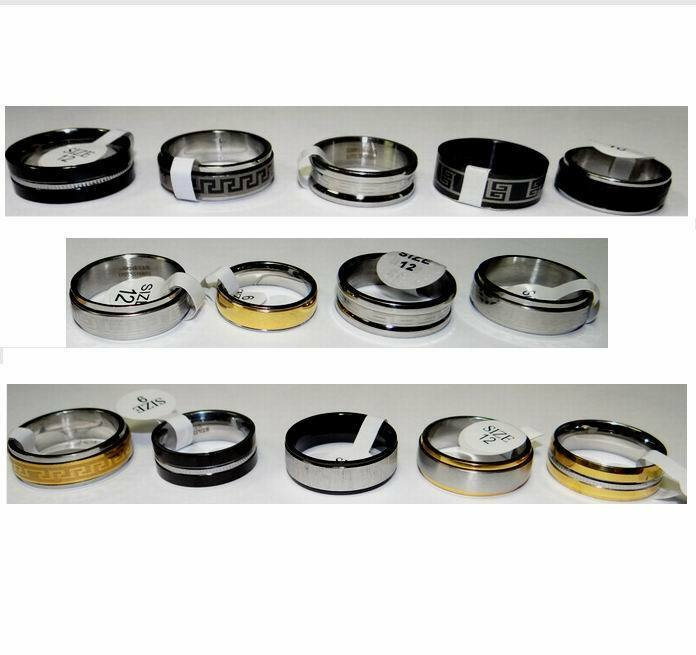 Lot of 50 Pieces - Men's Jewelry – Stainless Steel Assorted Fashion Rings