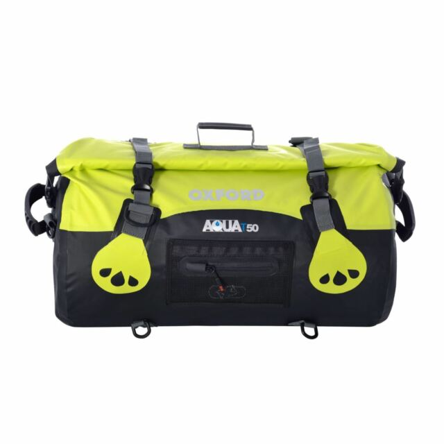 Oxford Aqua T50 Waterproof 50 Litre Motorcycle Luggage Roll Bag Fluo Yellow