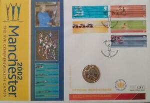 2002-Commonwealth-Games-2-Coin-England-Two-Pounds-Sealed-in-Stamp-Cover-FDC