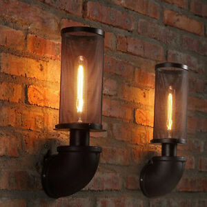 iron network vintage porch hallway wall light water pipe wall lamp