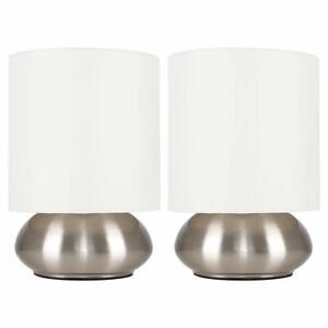 Minisun-Lot-de-Deux-Moderne-Lampe-de-Table-Tactile-Chrome-Ecrans-Beige
