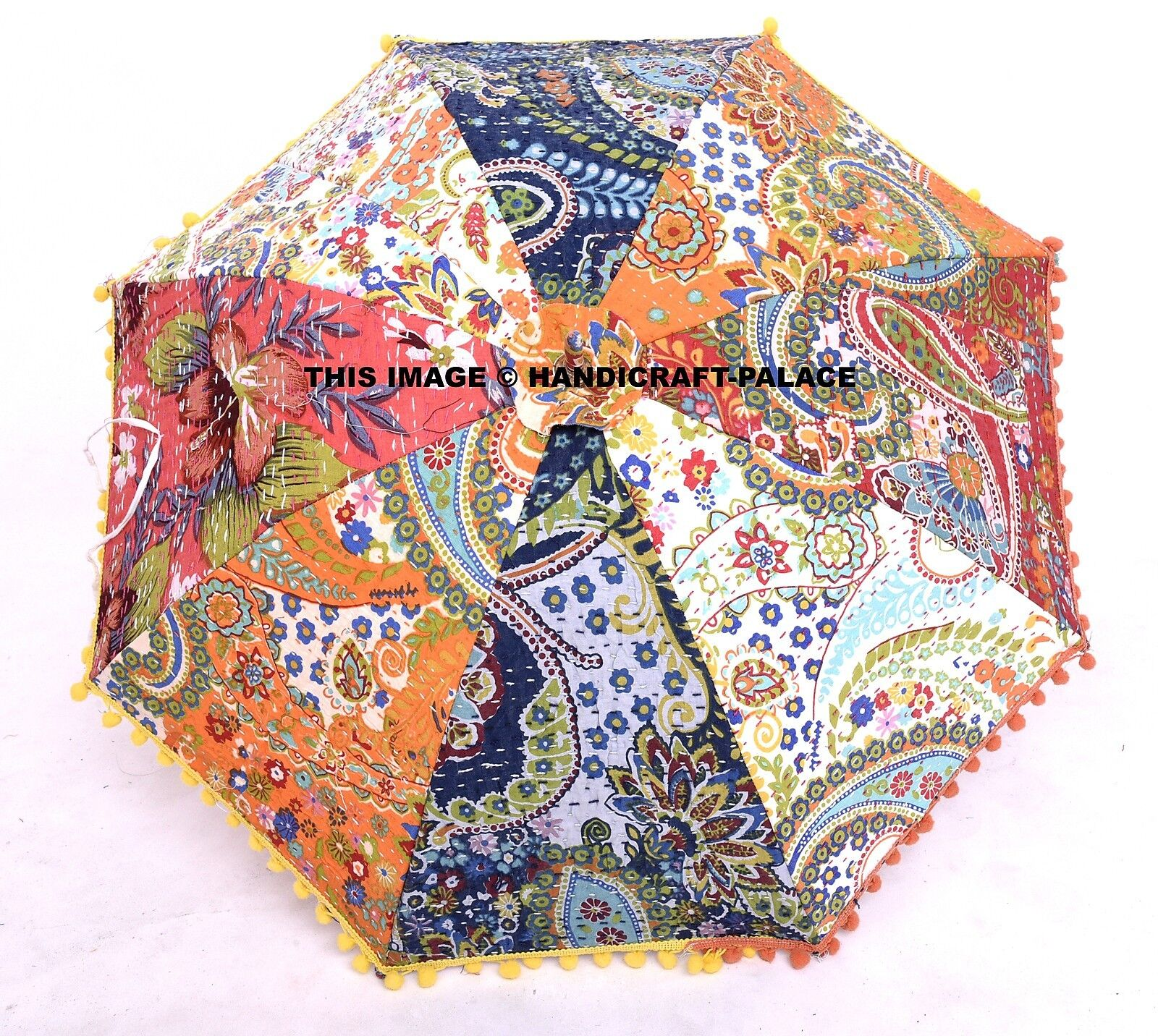 Umbrella Traditional Indian Patch Kantha Embroidered Work Sun Parasol Bohemian