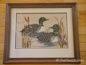 Needlepoint-Birds-Loons-Ducks-Professionally-Framed-Matted-16-5-034-x-20-034