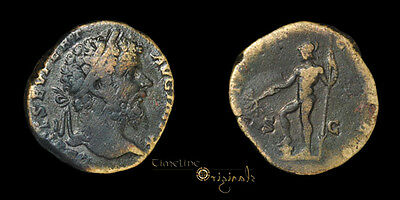 RARE SEPTIMIUS SEVERUS ANCIENT ROMAN SESTERTIUS COIN old collection label 027888