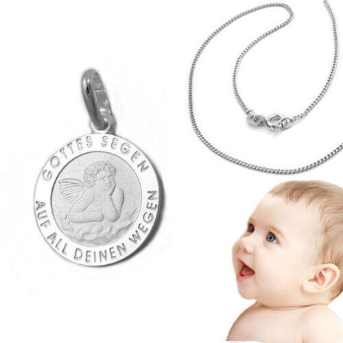 Weißgold 333 Baby Kinder Gottes Segen Engel mit Namen Gravur und Silber Kette