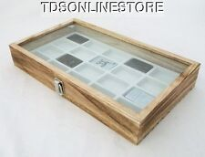 Rustic Antique Oak Color Glass Top Display Case Holds 20 Lighters White
