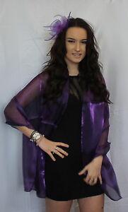 Dark-Purple-Organza-ball-wrap-Shawl-Stole-Evening-Scarf-Wedding-Dinner-Party