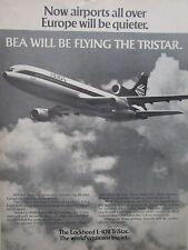 9/1972 PUB LOCKHEED L-1011 TRISTAR AIRLINER ROLLS RB211 ENGINES BEA AIRLINE AD