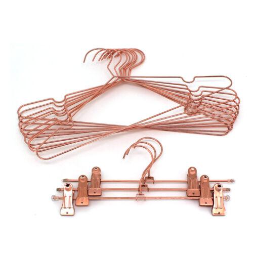 "10//30//60P 17"" Rose Gold Copper Hanger Coat Clothes Storage Metal Wire Hangers"