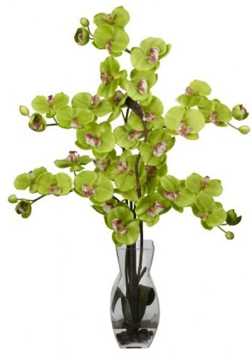 Nearly Natural 1191-GR Phalaenopsis With Vase Silk Flower Arrangement, Grün