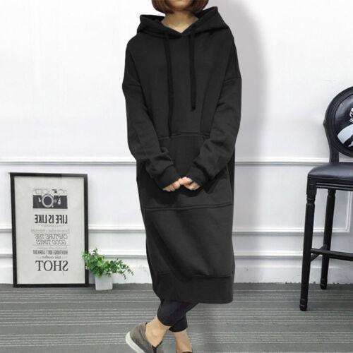 Womens Hooded Pullover Tops Sweatshirt Fleece Long Dress Plus Size Hoodie D705
