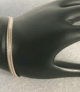 Vintage-Solid-Sterling-Silver-925-flat-wheat-foxtail-7-5-in-034-Bracelet-Fine-6g