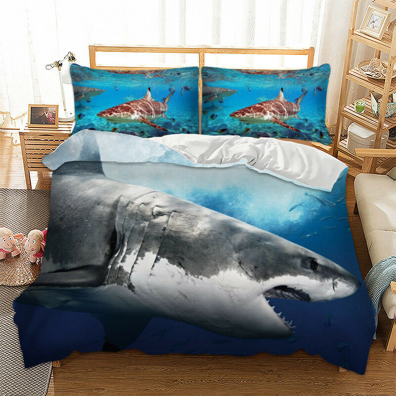 3D Ocean Shark Animal Duvet Cover Bedding Set Quilt Cover Pillow Cases 3PCS