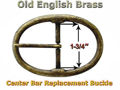 "OLD ENGLISH BRASS BELT BUCKLE FITS 1-3//4/"" WIDE BELTS CENTER BAR JT 6028 OEB"