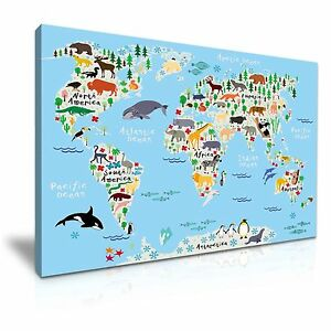 Childrens animal world map canvas kids wall art picture print image is loading children 039 s animal world map canvas kids gumiabroncs Choice Image