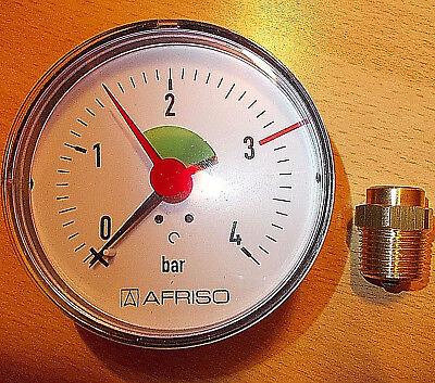 """Manometer 3//8/"""" Anschluss axial hinten 0-4 bar Heizung WIKA keine Versandk."""