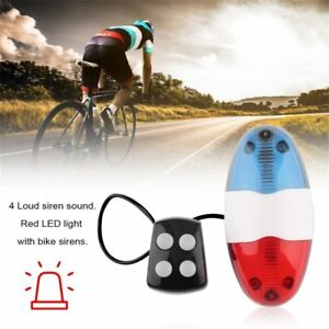 Bike-Bicycle-Cycling-4-Sounds-LED-Police-Car-Siren-Electric-Light-Horn-Bell-Ym