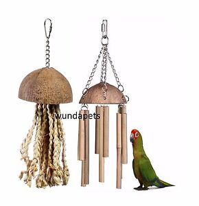 2-PACK-COCONUT-CHIME-amp-JELLYFISH-NATURAL-PARROT-PREENING-CAGE-TOY-LB-644-643