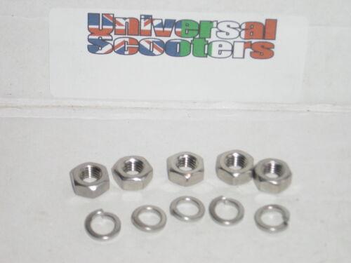Stainless Steel Vespa Wheel Nut Kit 5x Sprung Washer /& M8 Nut for wheel rim.