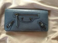 Authentic BALENCIAGA Logos Long Bifold Wallet Purse Leather Blue Italy RARE
