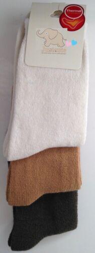 Girls Thermal Socks 3 pairs kids children socks 7 to 12 years Various Colours