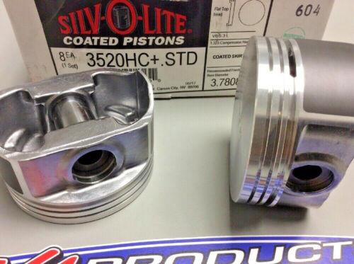 For Chevrolet 4.8 5.3 V8 LS Engine Flat Top Piston Set Of 8 Silvolite 3520HC Std