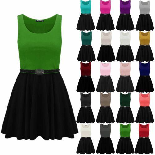 Ladies Womens Sleeveless Belted Franki Swing Flared Contrast Skater Mini Dress