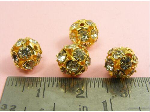 8mm 10mm~ 5 x ORANATE Rhinestone FILIGREE Round BALL BEADS Findings ~6mm