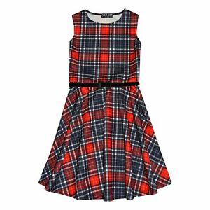 Girls Skater Dress Kids Red Tartan Summer Party Off Shoulder Dresses 7-13 Years