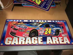 Jeff-Gordon-2001-NASCAR-Racing-USED-Plastic-Sign-Garage-Area-Team-Members-Only
