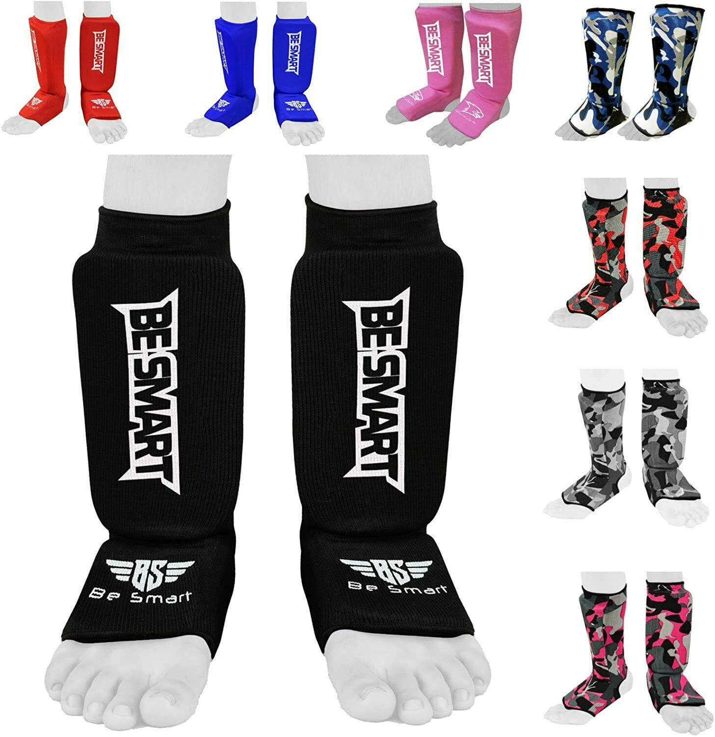 SHIN INSTEP GUARDS PADS MMA FOOT PROTECTION MUAY THAI KICK BOXING LEGS