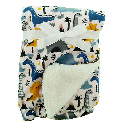 Zoo Animals ABC  Mink Sherpa Fleece Baby Crib Pram Moses Blanket 75 x 100 cm