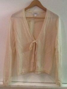 Isaac-Mizrahi-Beige-Cardigan-Size-S-100-Merino-Wool-Tie-Front-V-Neck