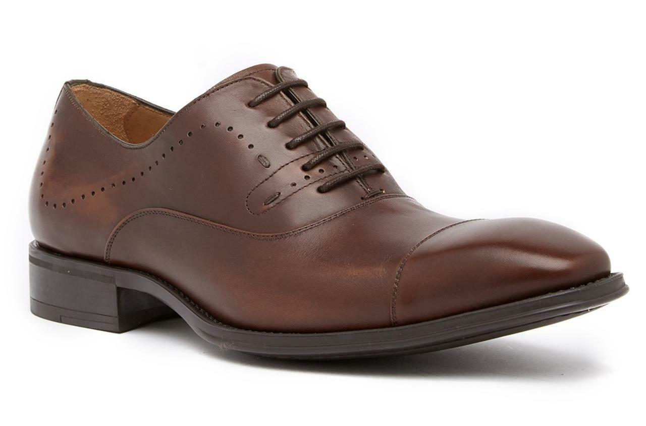 New in Box -  345 Mezlan Fermo Cap Toe Dark marrón Leather Oxfords Talla 8.5