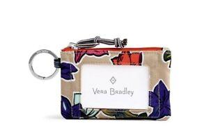 NWT-Vera-Bradley-Lighten-Up-Zip-ID-Card-Case-Keychain-Falling-Flowers-Neutral