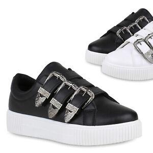 wholesale dealer 6f646 3a058 Details zu Damen Plateau Sneaker Schnallen Bequeme Freizeit Skater Schuhe  821728 Trendy