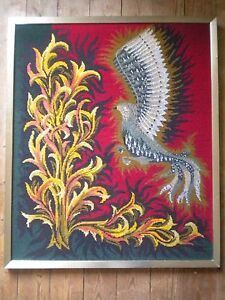 1970s Modern art tapestry French 65 x 78 Firebird framed