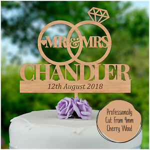Wedding-Cake-Topper-PERSONALISED-Wood-Wooden-Cake-Toppers-Mr-Mrs-SURNAME-Topper